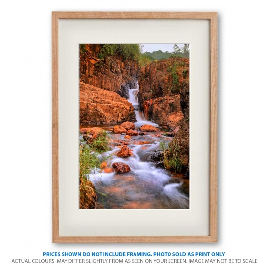 Red Stone Falls waterfall photo print in frame - display only