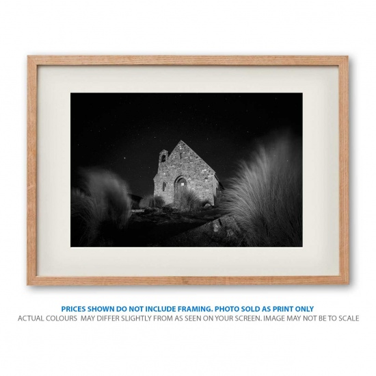 black and white Church photo print in frame - display only