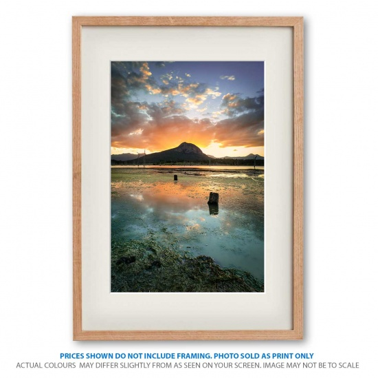 Stunning photo print of Lake Moogerah Sunset in frame - display only