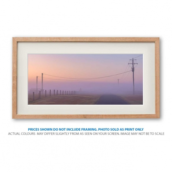 Foggy mystery landscape photo print in frame - display only