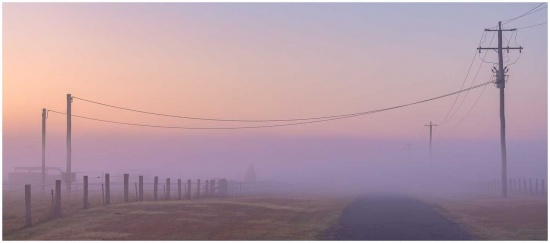 Foggy morning at sunrise photo print