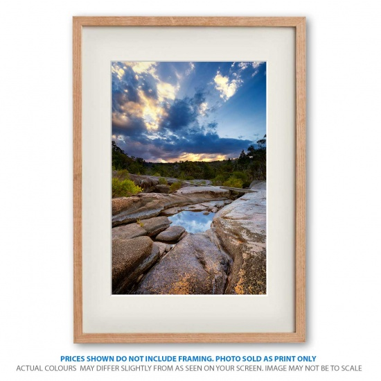 Wyberba Sunset lanscape photo print in frame - display only