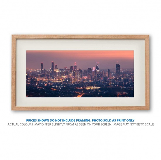Rising Brisbane photo print in frame - display only