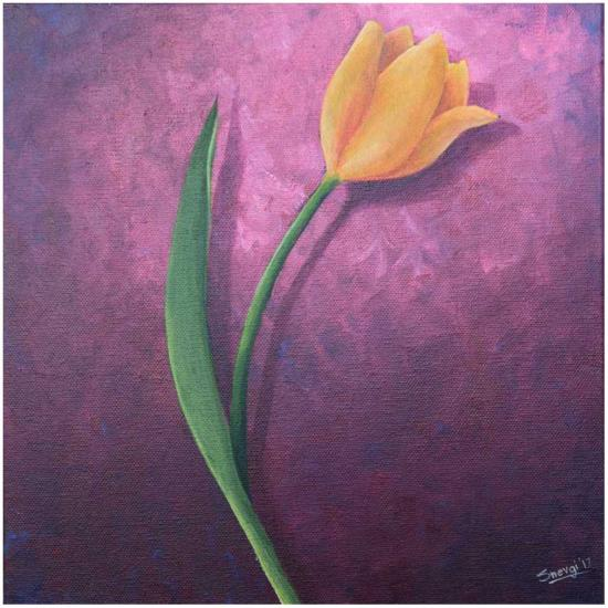 Yellow Tulip on Purple painting