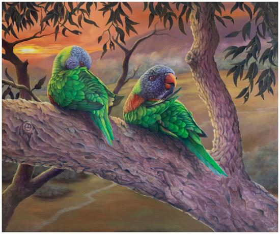 original oil painting of lorikeets with sunrise background
