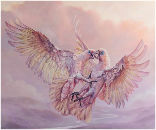 Two corellas fighting mid air oil painting