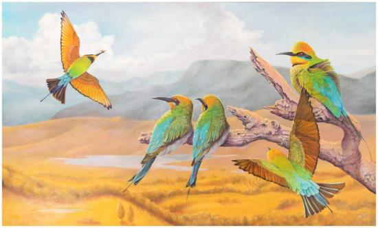 5 Rainbow bee eaters - 1 caught the bee oil painting